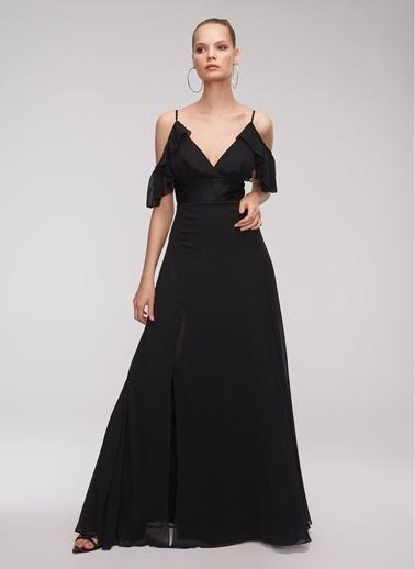 People By Fabrika Kolları Volanlı Abiye Elbise Siyah